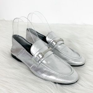 STEVEN Steve Madden Silver Leather Seaton Loafers